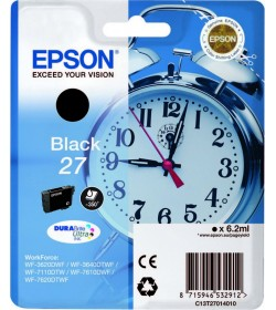 Ink Epson 27 C13T270140 Black Crtr -350Pgs - 6.2ml