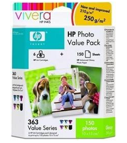 Photo Pack 363 - 10x15 150Shts and 6 Ink Crtr (Black Cyan Magenta Yellow Light Cyan Light Magenta