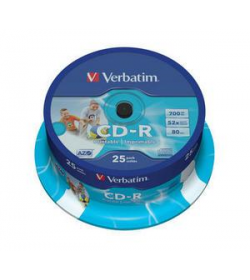 CD-R 52X 80-700M Spindle Wide Printable 25T