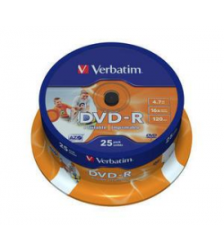DVD-R 16X 120-4.7G Spind. 25T Wide Printable