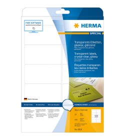Labels Herma Laser Transparent Glossy 96mm x 50.8mm - 250Τ 25 Shts 8018