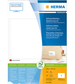 Labels Herma 148.5x205 Matt Adress Premium A5 400pcs - 400Sheets 8690