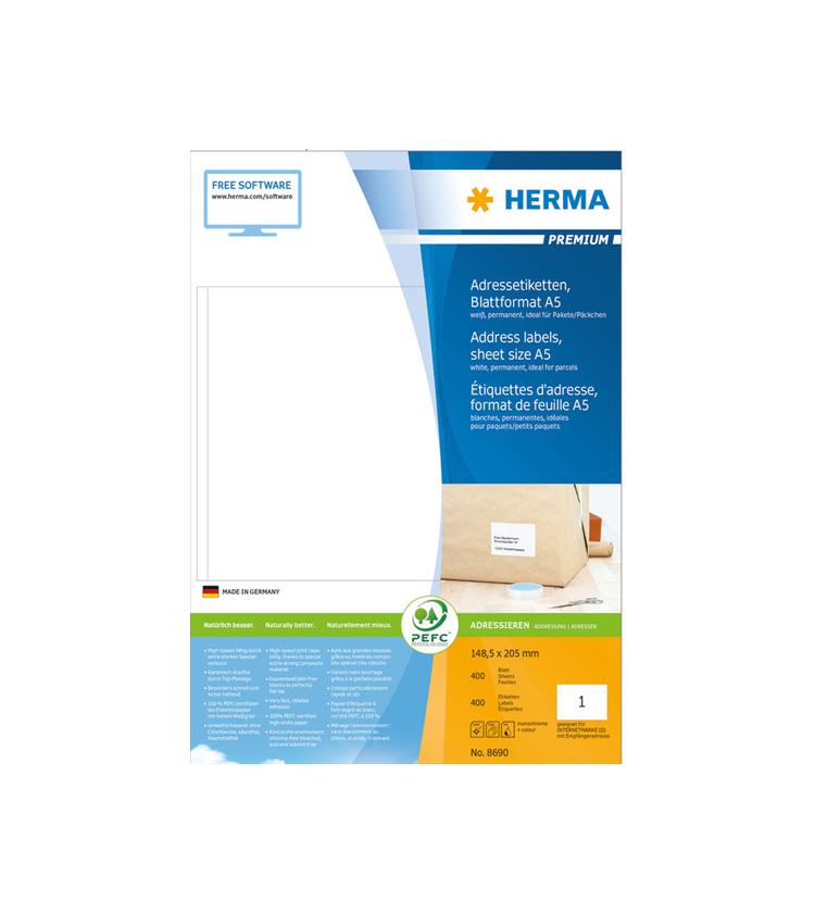 Labels Herma 148.5x205 Matt Adress Premium A5 400pcs - 400Sheets 8690