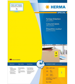 Labels Herma 210x297 Matt Yellow Inkjet - Laser - Copy 100pcs - 100Sheets 4401