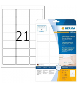 Labels Herma Laser Transparent Crystal Clear 63.5mm x 38.1mm - 225? 25 Shts