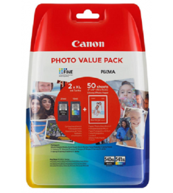 "Ink Canon PG-540XL CL-541XL Value Pack High Yield Black and Colour and 50s 4""x6"""