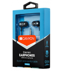 Canyon Jazzy earphones with microphone, alu BLK, 3.5mm - CNS-CEP3DG