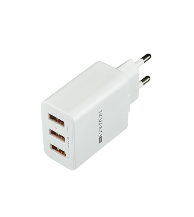 Φορτιστής Canyon 3 Χ USB  4.2A ΛΕΥΚΟΣ CNE-CHA05W