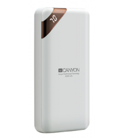 Canyon Compact power bank, digital display 20000 mAh WHITE - CNE-CPBP20W